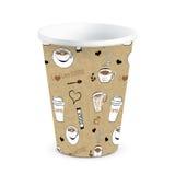 Устранимым напечатанная Doodle бумажная иллюстрация вектора кофейной чашки бесплатная иллюстрация