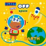 Устрашайте мультфильм астронавта смешной животный, иллюстрацию вектора стоковые изображения