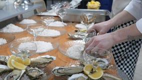 Устрицы, супер конец-вверх свежих устриц на белой плите с льдом и лимон, шеф-повар варят устриц, подготавливая для видеоматериал
