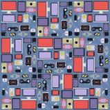 Устройство предпосылки и другое desig электроники плоское иллюстрация штока