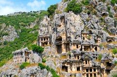 Усыпальницы Lycian в Demre Стоковое Фото