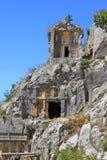 Усыпальницы Lycian в Myra, Турции Стоковая Фотография