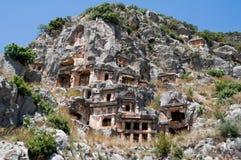 Усыпальницы Lycian в Myra (Турция) Стоковые Изображения
