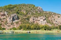 Усыпальницы Lycian Turkish на реке Dalyan Стоковые Изображения RF