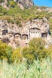 Усыпальницы Lycian Turkish - старый некрополь. Стоковое Изображение