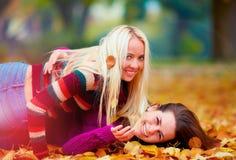 Услаженные девушки, друзья имея потеху среди упаденных листьев в парке осени Стоковое Изображение RF