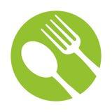 Утвари вилки ложки едят предпосылку значка зеленую иллюстрация штока