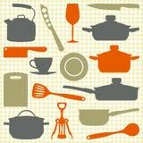 Утвари кухни, силуэты вектора Стоковое Изображение RF