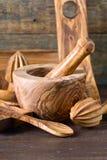 утвари кухни установленные деревянные Стоковое Изображение