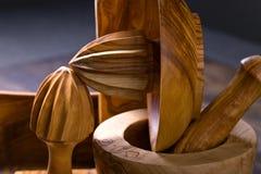утвари кухни установленные деревянные Стоковые Фото