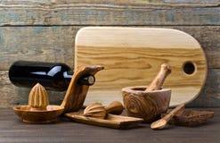 утвари кухни установленные деревянные Стоковая Фотография RF
