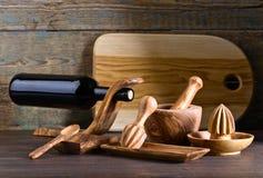 утвари кухни установленные деревянные Стоковые Изображения RF