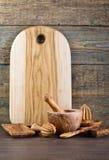 утвари кухни установленные деревянные Стоковое Фото