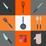 утвари поддержки кухни формы утки славные нож кухни вилки оборудования Столовый прибор кухни домоец иллюстрация вектора