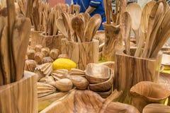 Утвари сделанные из древесины, ложки кухни, вилки, шпатели, gastrono Стоковое Изображение