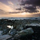 утесистый заход солнца стоковые фотографии rf