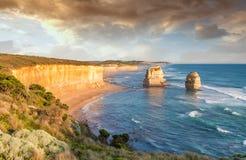 12 утесов на заходе солнца, порт Campbell - Австралия апостолов Стоковые Фото