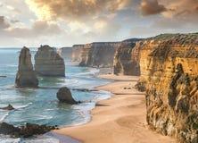 12 утесов на заходе солнца, порт Campbell - Австралия апостолов Стоковое Изображение RF