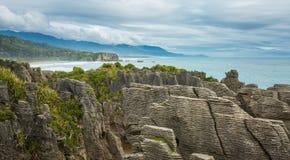 Утесы блинчика Punakaiki в Новой Зеландии Стоковое фото RF