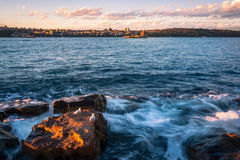 Утесы, волны и чайки в гавани Сиднея Стоковое Изображение RF