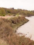 Утесы выравнивая край Sandline побережья с ясными небом и r стоковое фото