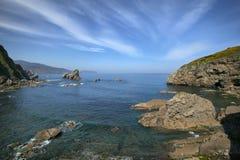 Утесы в море около острова Gaztelugatxe стоковое фото
