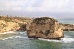 Утесы голубя, Бейрут - Ливан Стоковое Изображение RF