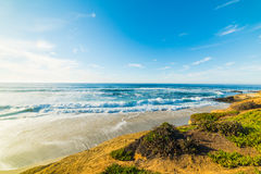Утесы и песок в береговой линии La Jolla Стоковые Изображения RF