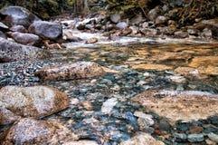 Утесы крупного плана в ясном потоке воды Стоковые Фото