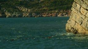 Утесы на море в Черногории Пляж скалистого побережья одичалый Dangero видеоматериал