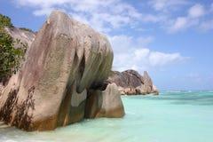 Утесы на пляже острова Digue Ла, SeychellesR Стоковая Фотография RF