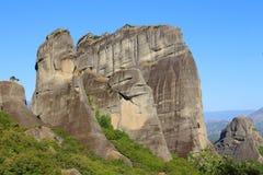 Утесы обнаруженные местонахождение монастыри Meteora стоковые изображения rf