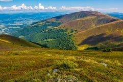 Утесы среди травы на наклоне горы Стоковые Изображения