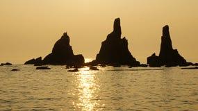 Утесы Hashigui около Kushimoto, Японии Стоковые Изображения RF