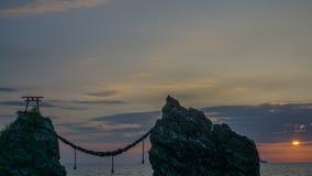 Утесы Meoto Iwa (пожененные утесы пар) в Нагасаки, Японии Стоковая Фотография RF