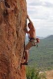 утес альпиниста скалы Стоковое Фото