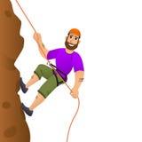 утес альпиниста скалы к Человек совершает для того чтобы поднять крутой склон головка дерзких милых собак персонажа из мультфильм Стоковое фото RF