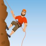 утес альпиниста скалы к Человек совершает для того чтобы поднять крутой склон головка дерзких милых собак персонажа из мультфильм Стоковые Фото