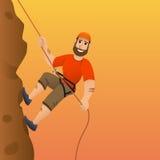 утес альпиниста скалы к Человек совершает для того чтобы поднять крутой склон головка дерзких милых собак персонажа из мультфильм Стоковое Изображение RF