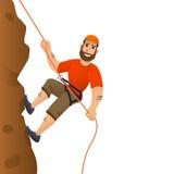 утес альпиниста скалы к Человек совершает для того чтобы поднять крутой склон головка дерзких милых собак персонажа из мультфильм Стоковые Фотографии RF