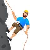 утес альпиниста скалы к Человек совершает для того чтобы поднять крутой склон головка дерзких милых собак персонажа из мультфильм Стоковые Изображения RF