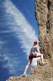 утес альпиниста скалы к Стоковое Фото