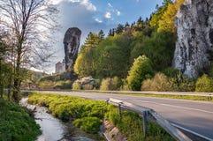 Утес вызвал клуб Геркулеса в национальном парке Ojcow стоковое фото rf