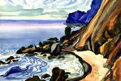 Утес и море бесплатная иллюстрация
