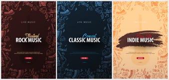 Утес, классика, Indie музыкальный фестиваль Открытый воздух Комплект шаблона дизайна рогулек с doodle рук-притяжки на предпосылке иллюстрация вектора