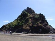 Утес львов пляжа Piha и за пределами стоковое фото