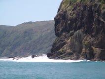 Утес львов пляжа Piha и за пределами стоковое изображение
