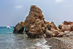 Утес на морском побережье Кипре Стоковые Фото