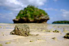 Утес на пляже залива Kabira стоковое фото rf