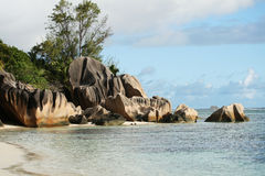 утес Сейшельские островы образования Стоковая Фотография RF
